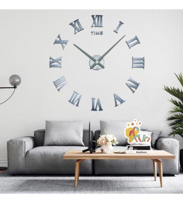 Часы офисные серые зеркальные Сделай Сам