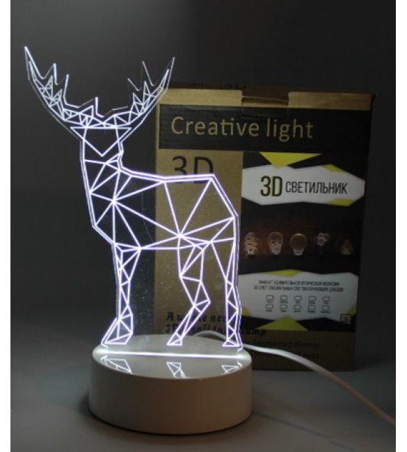 """3D светильник """"Олень"""""""
