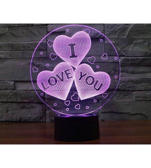 Светильник 3D I LOVE YOU