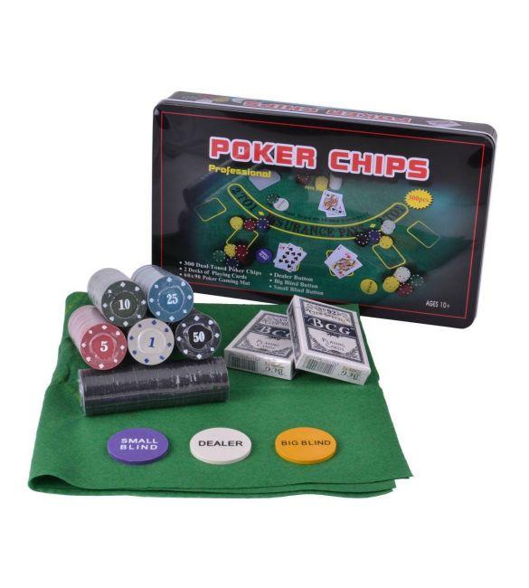 Набор для покера 300 фишек с номиналом, сукном