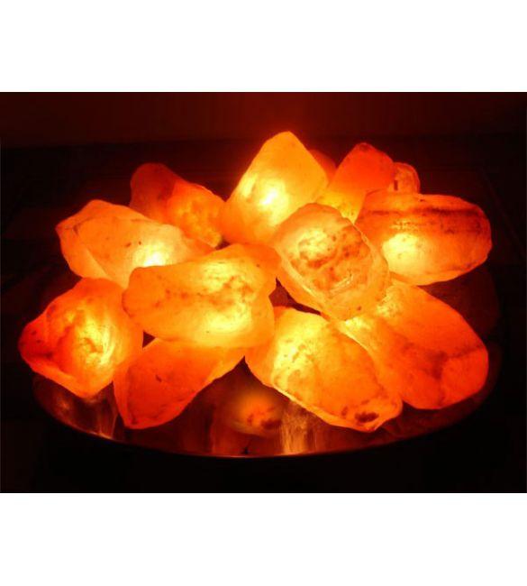 """Солевая лампа """"Огненная чаша"""" 15 камней на блюде"""